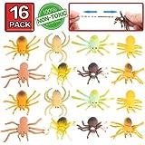 Juguete de araña, 16 paquetes de mini juguetes de goma de araña, material grado alimenticio – TPR de super elasticidad. Favoritos para la Mascarada de Halloween de Araña Negra Falsa y Blanda Simulada Horripilante del Mundo Zoológico: Bromas Práctica Horrible