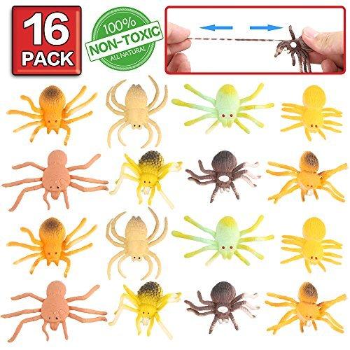 Spielzeugspinne, 16 Packungen Minispinne-Set aus Gummi, lebensmittelgeeignetes Material TPR, super dehnbar, Tierwelt, lebensechte Spielzeugfiguren, Schwarze Spinne, Halloweendekoration, Partyzubehör