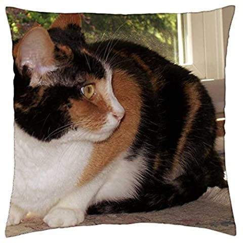 Cricket--A Calico Kitty Cat - Throw Pillow Cover Case (18
