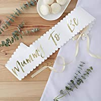Ginger Ray White And Gold Baby Shower Party Sash Mother To Be Celebration - Oh Baby!