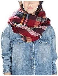 Grand Tartan Echarpe Mode Femme Plaid en Laine Tissu Glands Châle Oversize 1c36a6ea23e