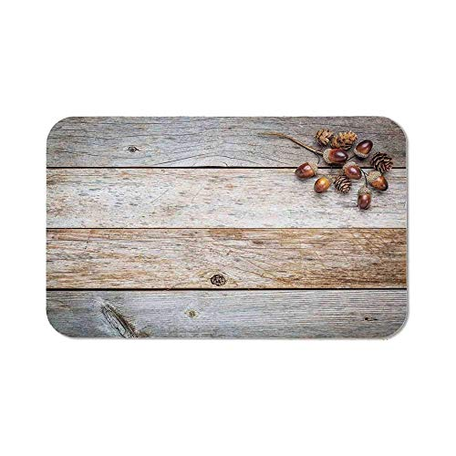 """Rustic Home Decor Custom Mouse Pad,Acorns and Cones on Weathered and Grained Wooden Back Timber Fall Theme Image for Electronic Games Office,Rubber mat 11.8\""""x 9.8\"""",3mm Thickness"""