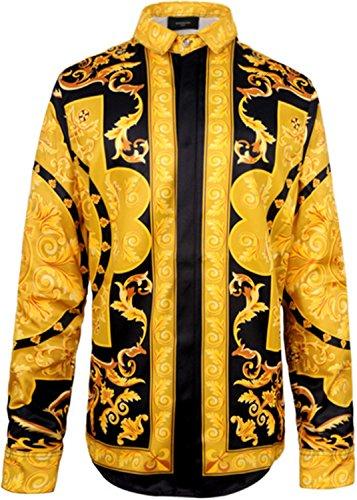 Pizoff Herren Luxus Palace Still Fashion Hemden mit Pflanze Blumen Medusa Y1706-26-XL