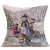 45cm*45cm Kissenbezüge, Kaiki Frohe Weihnachten Leinen Schneemann Kissen Fällen Sofa Kissenbezug Home Decoration (B)