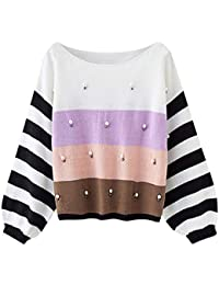 Rosegal Pull Hiver Femme Tricoté Sweater Loose Mode Manches Longues  Sweatshirt Pull-Over Blouse Jumper Oversize Chemise Tops… 9d393172231