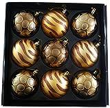 Packung von 9-8 cmLuxury Dekoriert-Gold / Bronze Weihnachtsbaum-Flitter