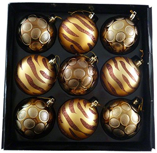 Confezione da 9-8 cmluxury decorato oro / bronzo bagattelle dell'albero di natale