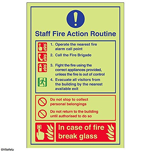 vsafety 12023 au-g Fire Action Sign, Caravan Website Fire Handeln,, Glow in the Dark 1 mm Kunststoff, Porträt, 200 mm x 300 mm, blau/rot
