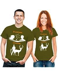 Funshirt Problemlösung Jagen T-Shirt olivgrün weiss orange