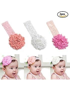 EQLEF® 3 pedazos de cinta bebé elástico de encaje lindo banda para el cabello flor diadema
