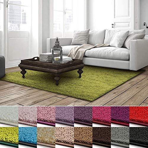 casa pura Shaggy Teppich Barcelona | weicher Hochflor Teppich für Wohnzimmer, Schlafzimmer, Kinderzimmer | GUT-Siegel + Blauer Engel | Verschiedene Farben & Größen | 80x150 cm | Grün (Günstig Teppich Läufer)
