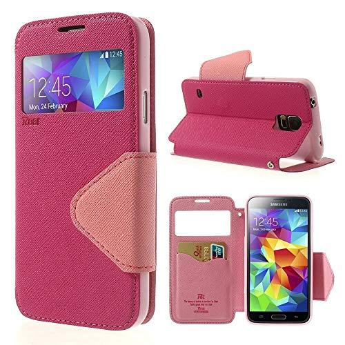 Handyschutz in Perfektion | Handyhülle Für Samsung Galaxy S5 Mini | Ultra Slim Premium Flip Cover Handy Tasche Schutz Hülle mit Ständer Silikon Innen Schale Original Roar Fancy Case | Pink Rosa (Glas-handy Cover-galaxy S5)
