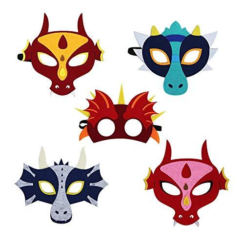 Kostüm Kennen Cosplay - Wateralone 5 STÜCKE Kinder Dinosaurier Maske Tier Cartoon Maske Geburtstagsfeier Leistung Maske, Gefälligkeiten Anzieh Gesichtsmasken Kostüm Set, Für Halloween, Cosplay, Thema Party