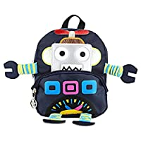 Biitfuu Kids Cartoon Backpacks Preschool Toddler Cute Robot Bookbag Kindergarten Infant Shoulder Bag Elementary Baby Anti-Lost Schoolbag(Navy Blue)
