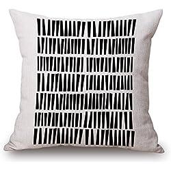POPRY Nordic Simple Amor geométrico en Blanco y Negro de Algodón y Almohadas Almohada Classic Black Line Cojín, sofá Moda Almohada,45x45cm,h