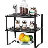 LIANTRAL Lot de 2 étagères pour armoire de cuisine - Empilables et extensibles - Pour les épices, les herbes - Noir