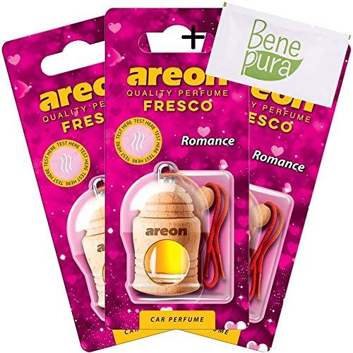 AREON auto deodorante profumo fresco 4ml-Romance-appeso bottiglia diffusore con copertura in legno naturale, a lunga durata, set di 3