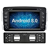 Ohok 7 Zoll Bildschirm 2 Din Autoradio Android 8.0.0 Oreo Octa Core 4G+32G Radio mit Navi Moniceiver DVD GPS Navigation Unterstützt Bluetooth WLAN DAB+ OBD2 für Mercedes-Benz C class W203/Clk -C209/W209/Viano/Vaneo/G-W463/A-Class W168 mit Rückfahrkamera
