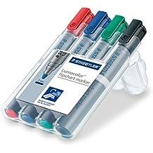 Staedtler 356 WP4 Flipchart-Marker Lumocolor (farbintensiv, geruchsarm, Rundspitze ca. 2 mm Linienbreite, hohe Qualität Made in Germany, ideal für Flipchart-Blöcke, Set mit 4 Farben)