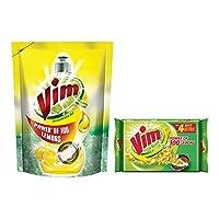 Vim Dish Wash Gel - 1 L (Lemon) with Dish Wash Bar - 200 g (Pack of 3)