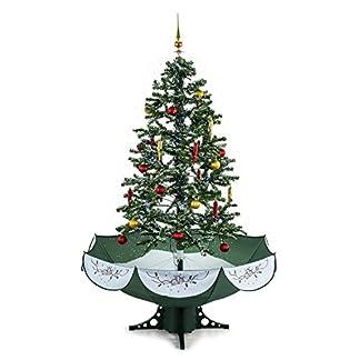 Oneconcept Everwhite – árbol navideño Artificial, árbol de Navidad, Pino, simulación de Nieve, 180 cm de Altura, decoración de 30 Piezas, Cadena de Luces, iluminación LED Azul, Negro