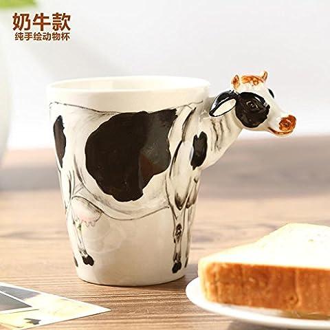 ZIMEI A mano 3D mucca ceramica tazze, tazzine, ad alta temperatura, forno a microonde 420ml , 2 set - Starbucks Tazze E Tazzine