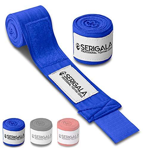 Serigala 4,5m Boxbandagen mit Daumenschlaufe - Halb elastische Bandagen Boxen mit extra breitem Klettverschluss - Kampfsport Bandagen für Thaiboxen, Kickboxen, MMA und Muay Thai Blau -