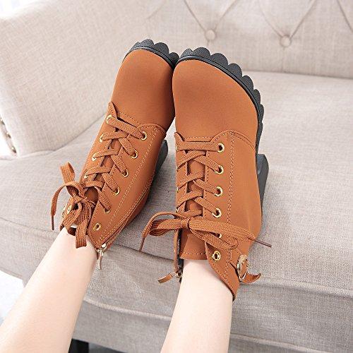 Longra Lace Up Boots tacco alto di modo delle donne Giallo
