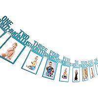 ZoomSky 2 Bilderrahmen Banner Set zum 1 Kinderzimmer Foto Prop Geburtstag Baby 1-12 Monate Fotogirlanden und One Girlande mit Herz Wimpelkette aus Glitter Karte Papier f/ürBabydusche Party Deko