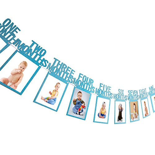 1. Geburtstag Girlande Bilderrahmen Baby Foto Banner Baby 1-12 Monate Foto Prop Party Girlande Dekor Verdickte Karte Papier (Blau) (Baby Geburtstag 1.)