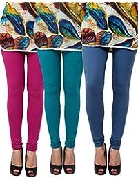 Anekaant Pack Of 3 Cotton Lycra Free Size Women's Legging -Purple, Light Green, Grey