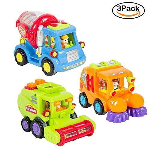 Produktbild Spielzeugauto für Kleinkinder Set mit 3 reibungsbetriebenen Spielzeugen – Reibungsbetriebener Zementmischer Kehrmaschine Mähdrescher mit automatischen Funktionen -Spielzeug Push und Go Reibung Powered Auto spielzeug ab 3 jahren