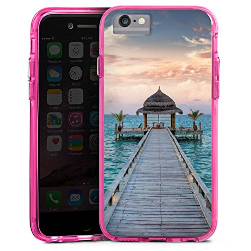 Apple iPhone X Bumper Hülle Bumper Case Glitzer Hülle Steg Urlaub Ocean Bumper Case transparent pink