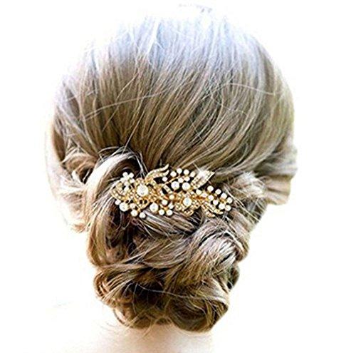 Kercisbeauty - Peines decorativos de boda con perlas doradas para novia a7de84e94bd5