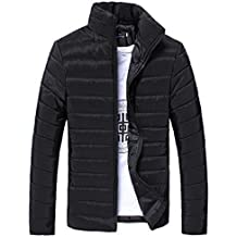 Herren Jacke Btruely Herbst Winter Männer Slim Mantel Warm Zipper Outwear (M, Schwarz)