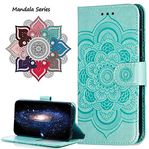 MRSTER Funda para Xiaomi Mi 8 Lite, Estampado Mandala Libro de Cuero Billetera Carcasa, PU Leather Flip Folio Case Compatible con Xiaomi Mi 8 Lite. LD Mandala Green