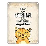 Metallschild mit Spruch: Ohne ein paar Katzenhaare ist man nicht richtig eingerichtet! - ein cooles Metallschild von trendaffe - passende weitere Begriffe dazu: Katze Kätzchen Katzenhaare Wohnung Zuhause Blechschild Schild Dekoration oder Dekoschild.