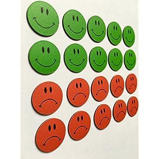 20 bunte Smiley Magnete Ø 2cm (10 grüne lachende und 10 rote traurige) z.B. für Präsentationen, Schulungen, Projektarbeit, Unterricht.
