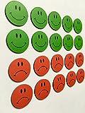 20 bunte Smiley Magnete Ø 2cm (10 grüne lachende und 10 rote traurige) z.B. für Präsentationen, Schulungen, Projektarbeit, Unterricht..