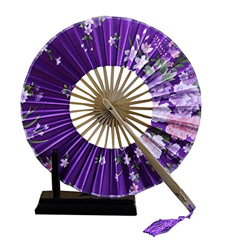 Fan-prop (Einzigartige Frauen Faltbare runde Fan Silk Handheld Prop Windmill Circle Fan)