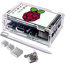 Quimat Raspberry pi 3 ecran,LCD TFT Compatible Raspberry Pi 3 modèle B B+ Module SPI Tactile Avec Un Boitier de Protection, 3 Dissipateurs Thermiques, Un Stylet Inclus ,Touch Screen for Raspberry Pi