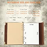 XIUJUAN A5 Notebook Leather Journal Refillable Diary Blank Sketchbook with Pocket, Vintage Christmas Valentines Gifts Anniversary Wedding Birthday Retirement Presents for Women Men Girls Boys, Coffee