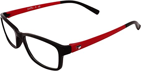 faas Unisex Selfie Full Rim Rectangular Sunglasses and Spectacles Frame, 55mm(FS0077, Clear Lens and Red Arm)