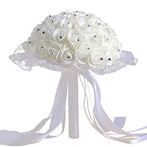 Zycshang 1Bouquet de fleurs artificielles moderne Cristal Blanc roses, élégant, ruban de dentelle Décoration, Atmosphère romantique Maker, support pour la fête de mariage Décoration de bureau et Joyeuse jours