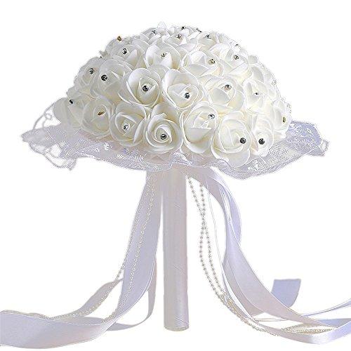 zycshang 1Bouquet Künstliche Modern Kristall Weiß Rosen, elegant, Spitzenband Dekoration, Romantische Atmosphäre Maker, Armatur für Hochzeit Party Büro Dekoration und Freude Tage