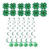 BESTOYARD St. Patricks Day Luftballons Banner Girland Deko Spiralen mit Vierblättriges Kleeblatt Anhänger St. Patricks Day Dekoration 18 Stück (Grün)