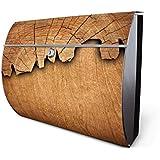 banjado - Motiv Briefkasten 38x30,5x13,5cm aus Edelstahl mit Zeitungsfach und Motiv Holz