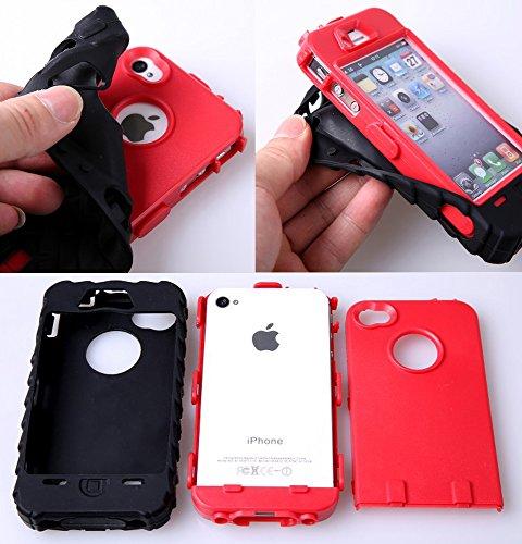 meaci marque 3en 1pour iPhone 4/4S Motif Pneu Pneu Tread Combo hybride Defender High Impact Corps ArmorBox Coque de protection rigide pour PC & pare-chocs en caoutchouc souple en silic