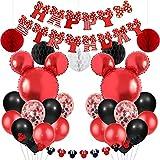 Forniture per feste a tema Topolino e Minnie Palloncini di ghirlanda di Minnie rossi e neri Banner di buon compleanno per compleanno Baby Shower