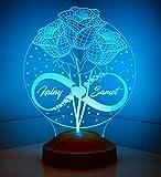 Sentidos Personalisiertes Valentinstag Geschenk 3D Led Lampe, Wunschtext, Schlummerlicht, Farbwechsel Dekor Lampe - Sevgi Lambasi (Rosen und Unendlichkeit)